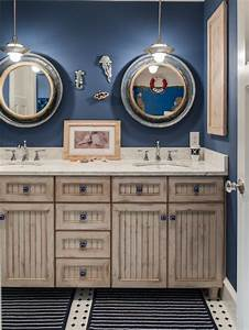 Nautical themed bathroom houzz for Kitchen cabinets lowes with sea themed wall art