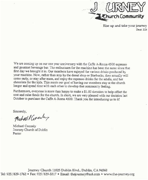 a letter to an early christian community is called testimonial letter journey community church office