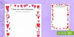 "Mothers Day ""I love my mom because..."" Full Page Borders US"
