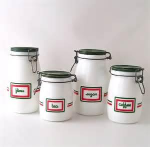 vintage kitchen canister set milk glass milkglass coffee - Green Kitchen Canister Set