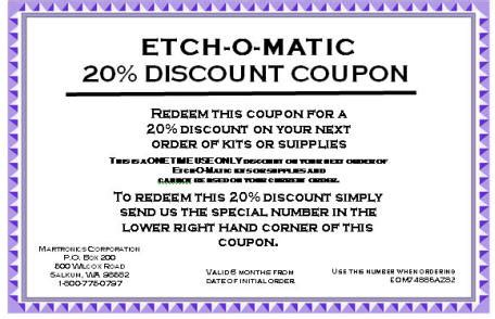 41553 Etch Coupon permanently metal tools new metal marking kits