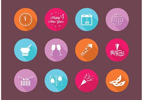 free flat new years eve vector icons download free