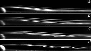 Semicylinder Flow Visualization  A  Re H   604  B  800  C