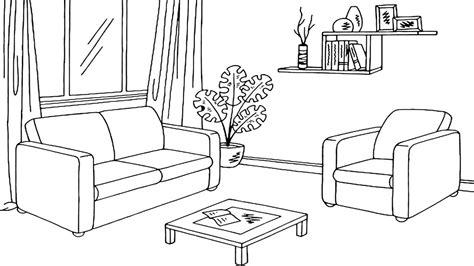 Coloring Living Room by Living Room Colouring Pages Sketch Coloring Page
