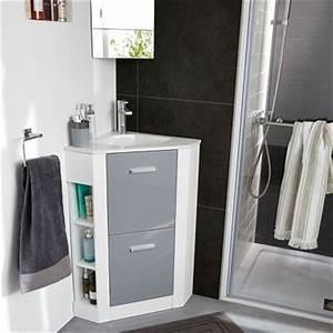 Meuble Vasque Angle : plan vasque d 39 angle pour petite salle de bain castorama ~ Teatrodelosmanantiales.com Idées de Décoration