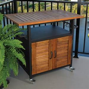 Outdoor furniture cabinet, grill for outdoor side table