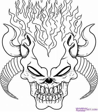 Coloring Pages Skull Scary Demon Creepy Adults