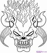 Coloring Skull Scary Adult Halloween Creepy Demon Adults Sheets Drawing Sketchite sketch template