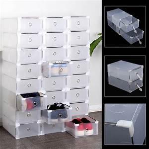 Boite A Chaussure Plastique : 24 grid bo te chaussures plastique housse tiroir stockage empilable rangement ebay ~ Teatrodelosmanantiales.com Idées de Décoration