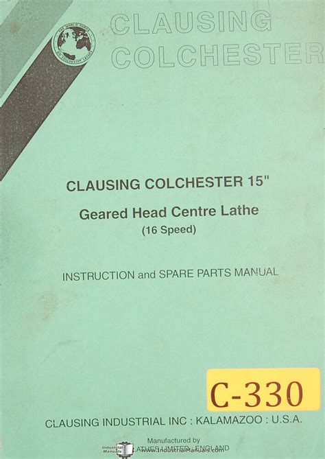 clausing  centre lathe  speed service instruction parts manual  ebay