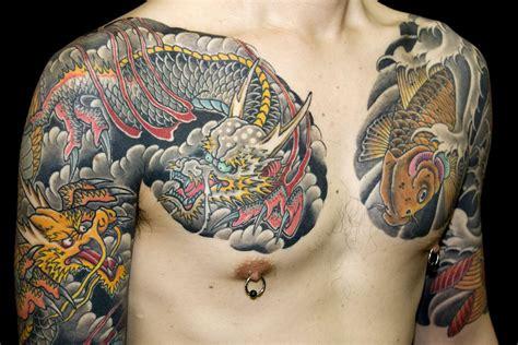 chest dragons japanese koi tattoo slave   needle