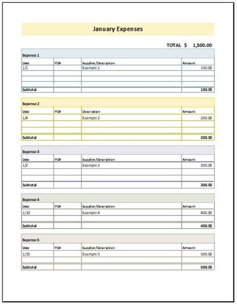 monthly expense report template  excel excel templates