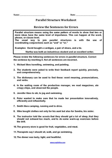 parallel structure worksheets review sentences for