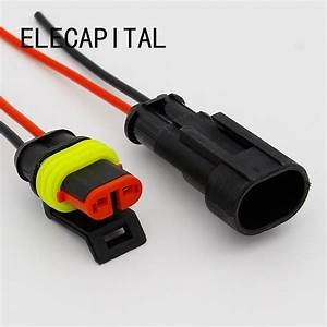 2 Pin Way Sealed Waterproof Electrical Wire Connector Plug