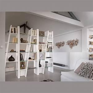 Bibliothèque design contemporain composition 3 modules laque et verre