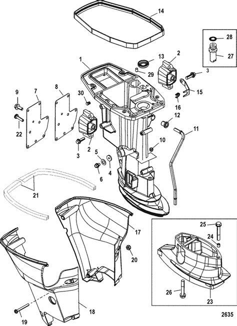mercury marine  hp  stroke driveshaft housing parts
