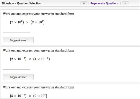 New Questions On Standard Form Mathster