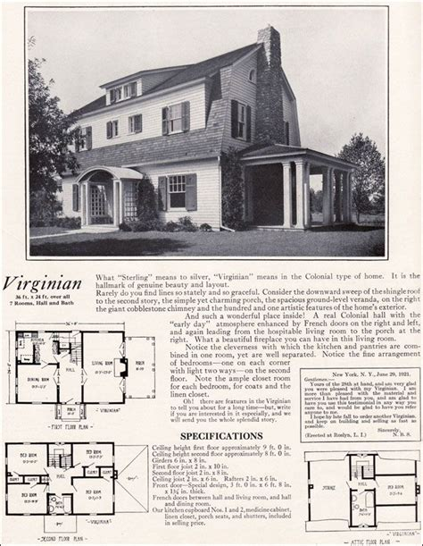 Colonial Revival House Plans by 1922 Virginian By Homes Colonial Revival