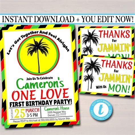 love  birthday party invitation jamaica reggae