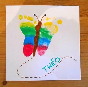 papillon empreinte pieds bebe enfants activite manuelle With idee couleur peinture toilette 9 activites de paques maternelle
