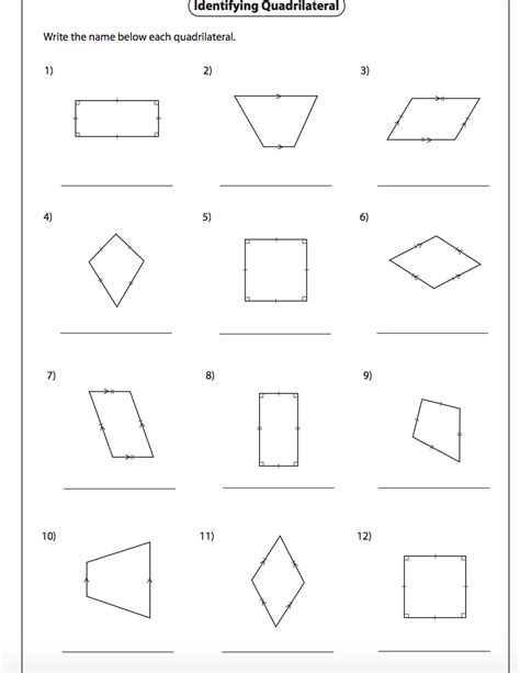 Coloring Quadrilaterals by Identifying Quadrilaterals Worksheet With Answers