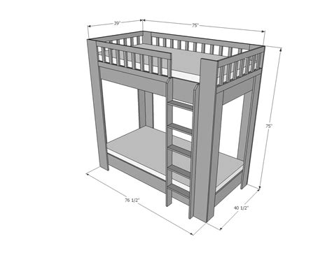 Bunk Bed Dimensions by White Rustic Modern Bunk Bed Diy Projects
