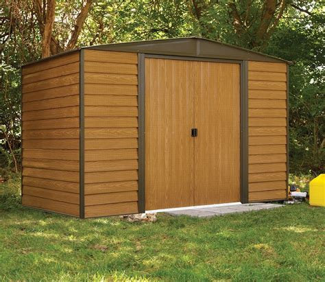 10ft X 6ft Shed by Rowlinson Woodvale Metal Apex Wood Effect Shed 6ft X 10ft