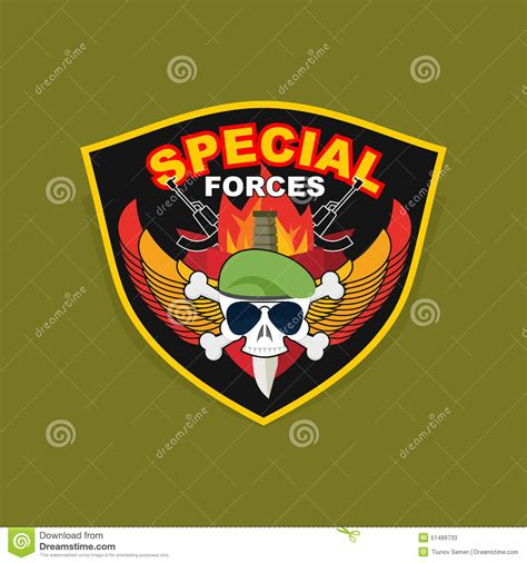 emblem with a skull and the weapon wings on shield wa stock vector 51489733