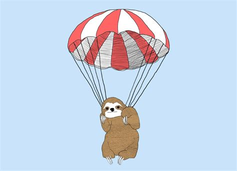 Parachuting Sloth by Keren Boshi | Threadless
