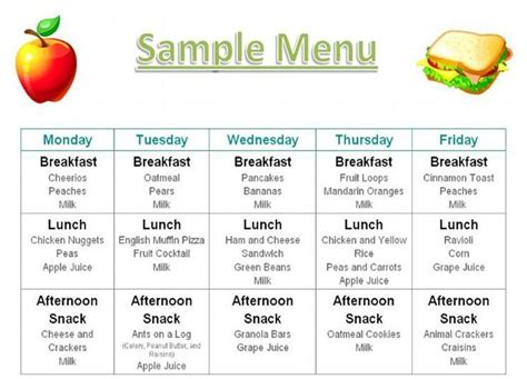 child care menu template menu photos printables menus daycares menus home daycare menu food family dinner
