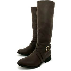 womens boots knee womens brown leather style biker knee high stretch buckle boots from buy uk