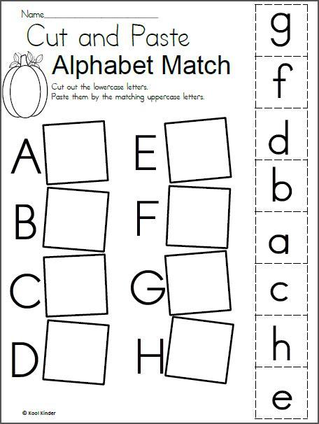 alphabet match worksheet  fall  images alphabet