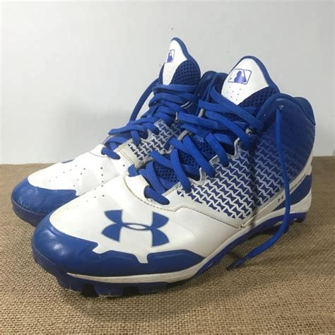 armour shoes mens  blue white baseball cleats