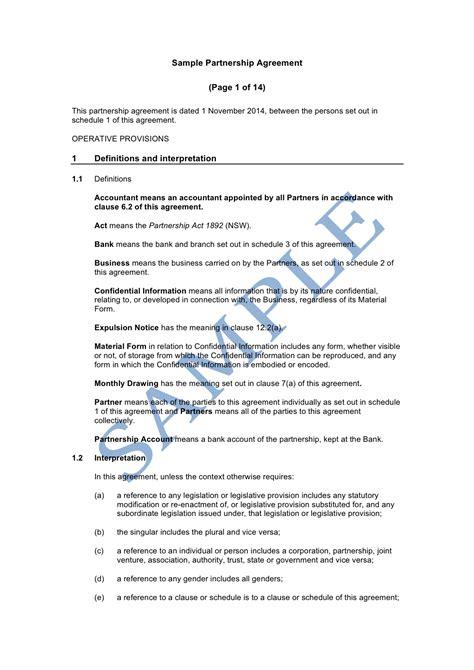 partnership agreement template partnership agreement sle lawpath