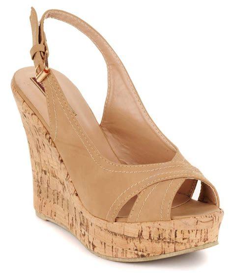 Gosh Flat With High Wedges flat n heels khaki faux leather open toe high heel wedges