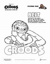 Coloring Croods Belt Printable Colorear Dibujos Perezoso Sloth Sheets Faultier Colouring Ausmalbilder Coloriage Cintu Age Pintar Guy Dreamworks Imprimir Colorare sketch template