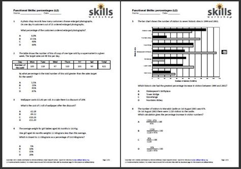 functional maths l2 percentages choice worksheet skills workshop