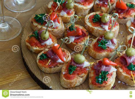pinchos tapas canapes finger food stock