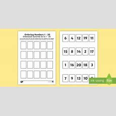 Ordering Numbers 1 To 20 Game Englishromanian Ordering