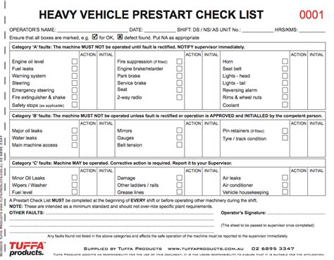 heavy vehicle prestart checklist tuffa products