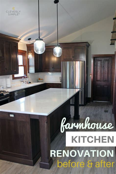 farmhouse kitchen renovation   dark wood