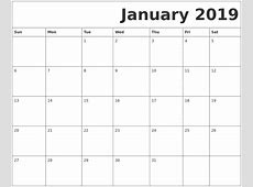 January 2019 Printable Calendar calendar month printable