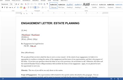Engagement Letter Template - Costumepartyrun
