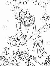 Scuba Coloring Printable Diver Template Taucher Diving Ausmalbilder Malvorlagen Zum sketch template