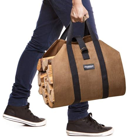 buy firewood log carrier waxed canvas wood tote bag