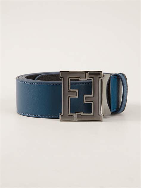lyst fendi branded buckle belt  blue  men