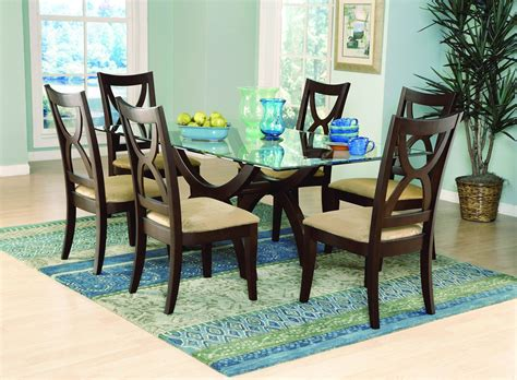 Glass Top Wooden Dining Room Table #1120  Dining Room Ideas