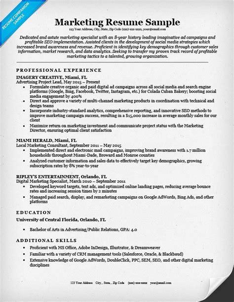 Marketing Resume Tips by Marketing Resume Sle Writing Tips Resume Companion