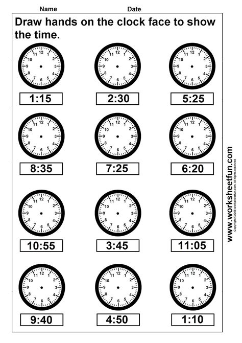 clocks with second for 4th grade math time draw