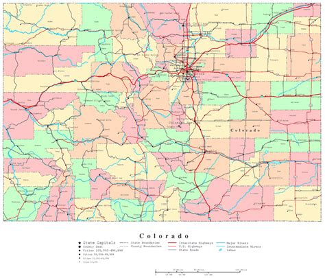 large administrative map  colorado state  roads